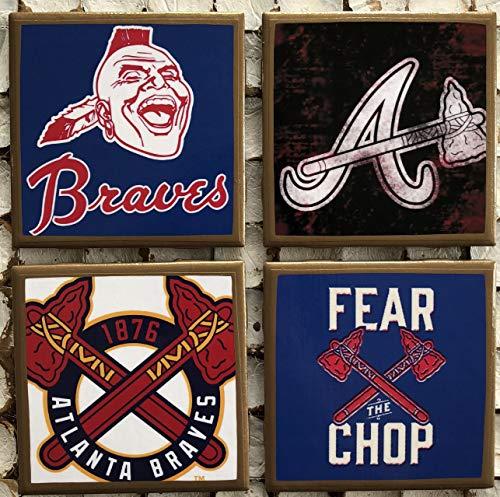 I heart Atlanta Baseball coasters with gold trim ()