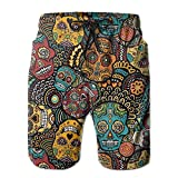 HUDEWDS23 New Mexican Sugar Skulls Men's Swim Trunks Summer Suit with Pockets