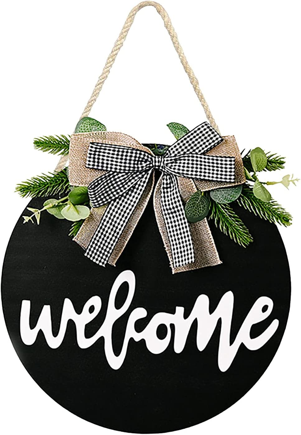 Welcome Home Sign Hanger Wreath Front Door Decor - Front Door Decor, Rustic Round Wreath for Housewarming Gift Farmhouse Home Wall Art Decor 12 Inches (Plaid Bow)