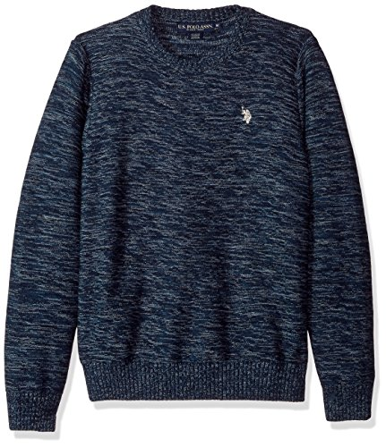 U.S. Polo Assn. Men's MARL Reverse Jersey Crew Neck Sweater, Sailor MARL, Large by U.S. Polo Assn.