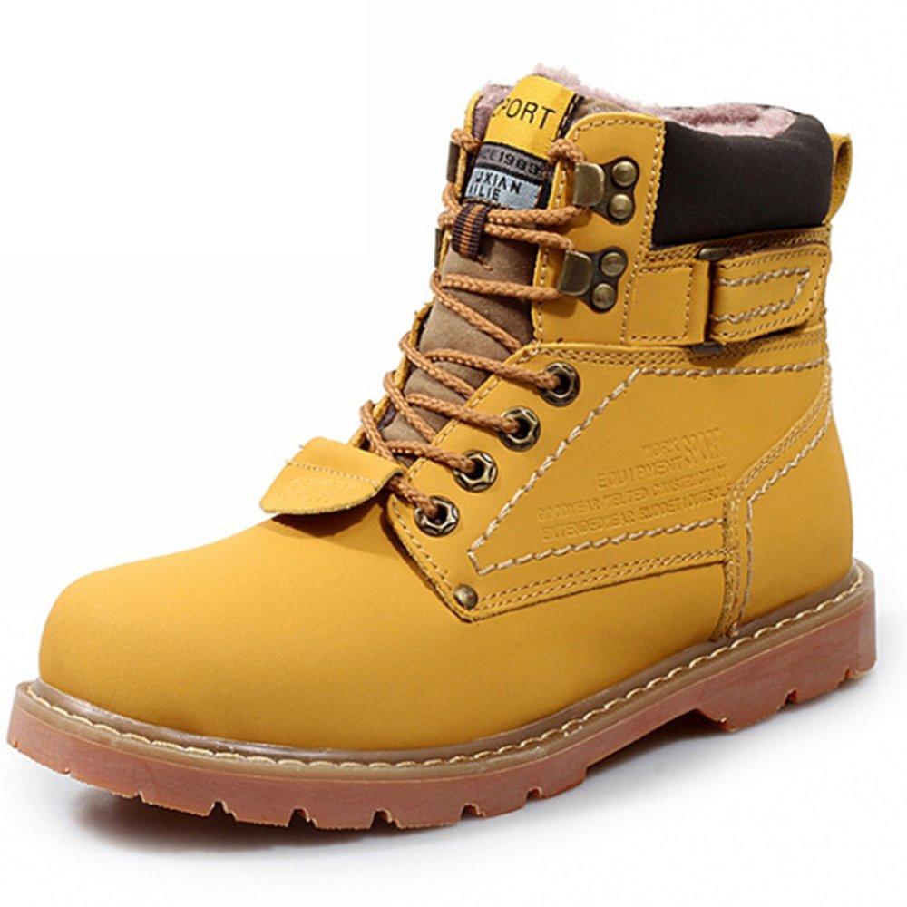 AARDIMI Winter Männer Stiefel Hochwertigen Männlichen Echtem Leder Stiefel Arbeit Sicherheit Stiefel Mode Winter Echtem Leder Arbeitsschuhe Gelb und Samt