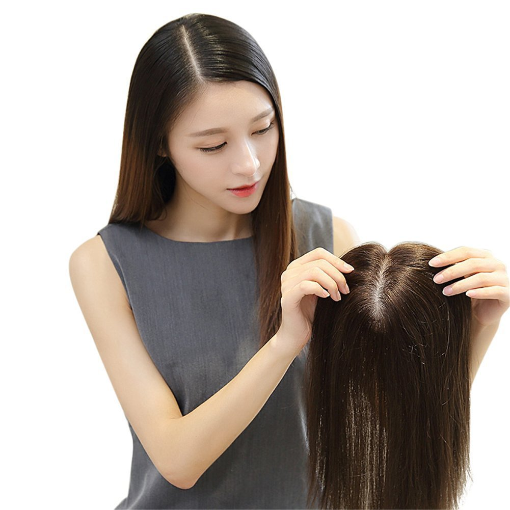 100% Remy Human hair Silk Base Human Hair Toppers for Thinning Hair Clip in Hairpiece for Women (6inch natural black) (10'', chestnut brown) by YuXian Beauty (Image #1)
