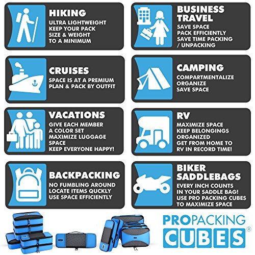 Pro Packing Cubes - 6 Piece Lightweight Travel Cube Set - Organizers and Compression Pouches System for Carry-on Luggage, Suitcase and Backpacking Accessories (Sky Blue) by Pro Packing Cubes (Image #2)