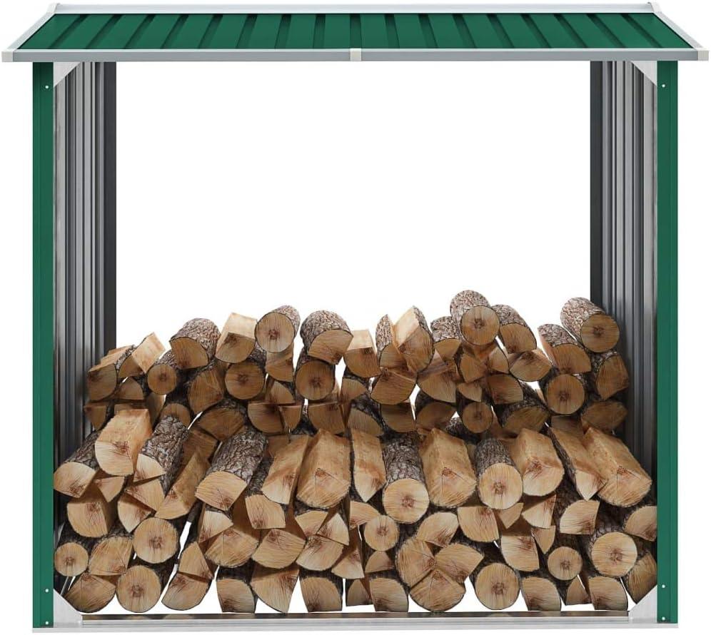 Festnight Caseta de jardín para leña de Acero galvanizado Verde 172x91x154cm