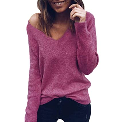 e056dbf1606554 Hot Sale! Women Long Sleeve Knitted Sweater Tops Daoroka Ladies Sexy Cotton  V-Neck