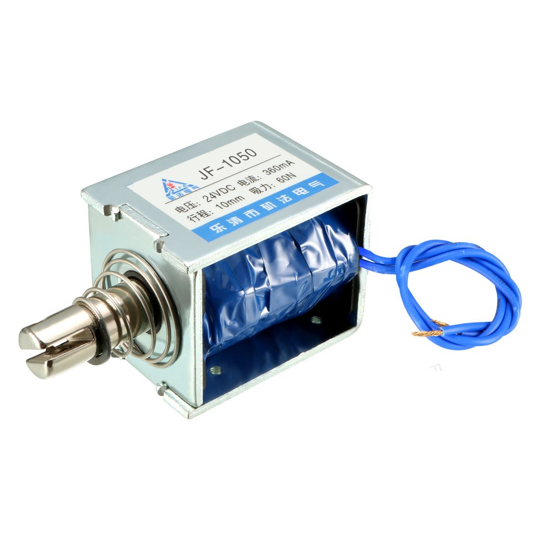 uxcell JF-1050 DC 24V 360mA 60N 10mm Push Type Open Frame Linear Motion Solenoid Electromagnet