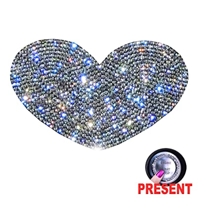 U&M Crystal Car Decal Auto Car Emblem Sticker Decoration Bling Bling Interior Accessories for Women (Heart): Automotive