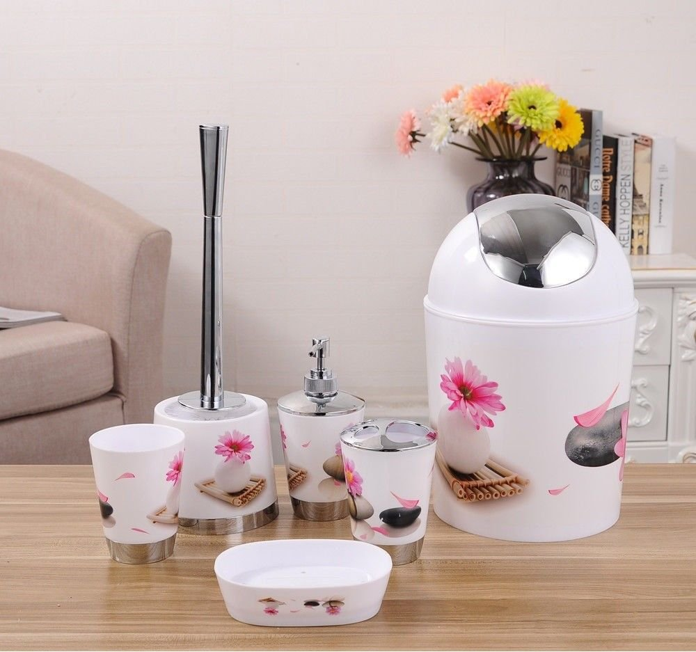 6Pcs Bathroom Accessory Set Tumbler Toothbrush Holder Bin Soap Dish Dispenser (Flowers and Stones) MAS