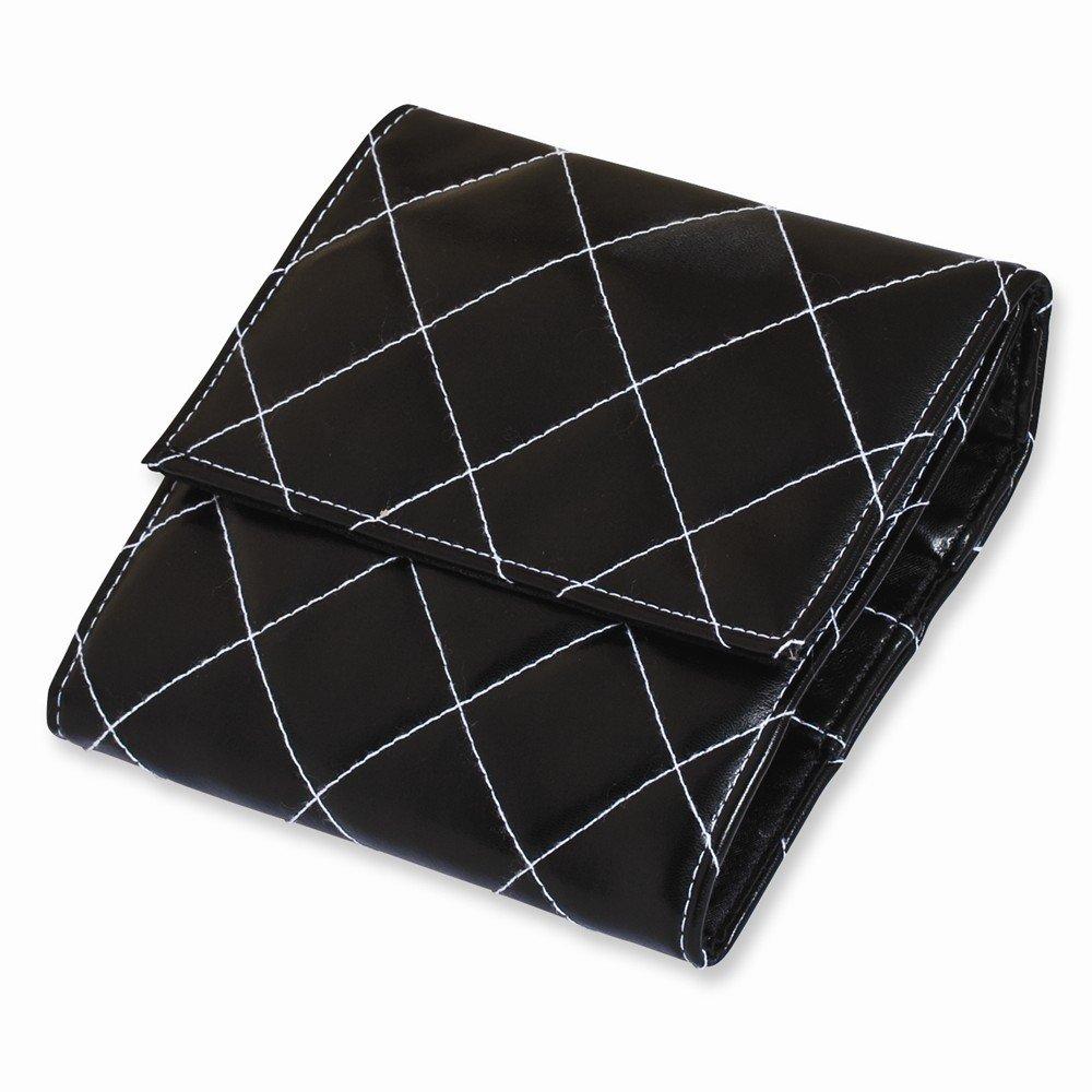 Best Designer Jewelry Chic 6X6 Black w/White Stitched Quilted Travel Bag