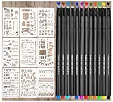 #6: Bullet Journal Supplies, Quality Stencils and Pens for Journaling,Bullet Journal for Daily Planner,Scrapbooking,Diary,Card Making,9PCS DIY Journal Planner Stencils&12PCS Color Fineliner Pen