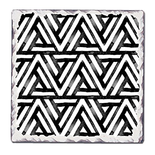 CounterArt Single Tumbled Tile Coaster, Black and White Pattern 10