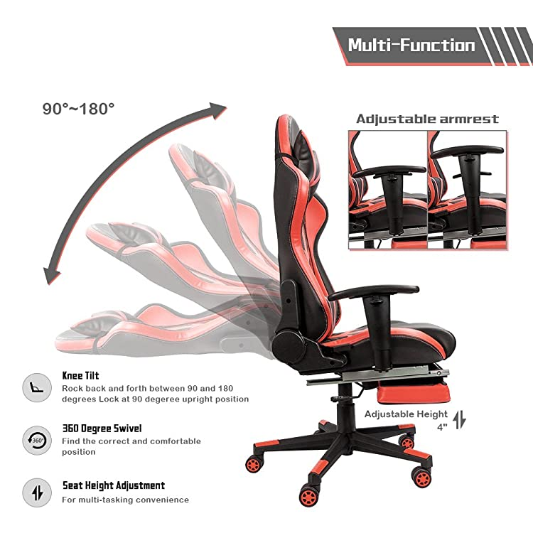 Homall Gaming Chair Ergonomic High-Back Racing Chair-90-180 Degree Adjustable Backrest