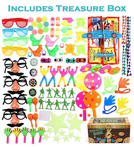 Chest Filled Treasure Treat Box - Treasure Box Prizes for Classroom, 100 Piece Party Favors for Kids, Birthday Party and Carnival Games For Kids, Perfect for Goodie Bags, Pinata Candy and Toys Filler