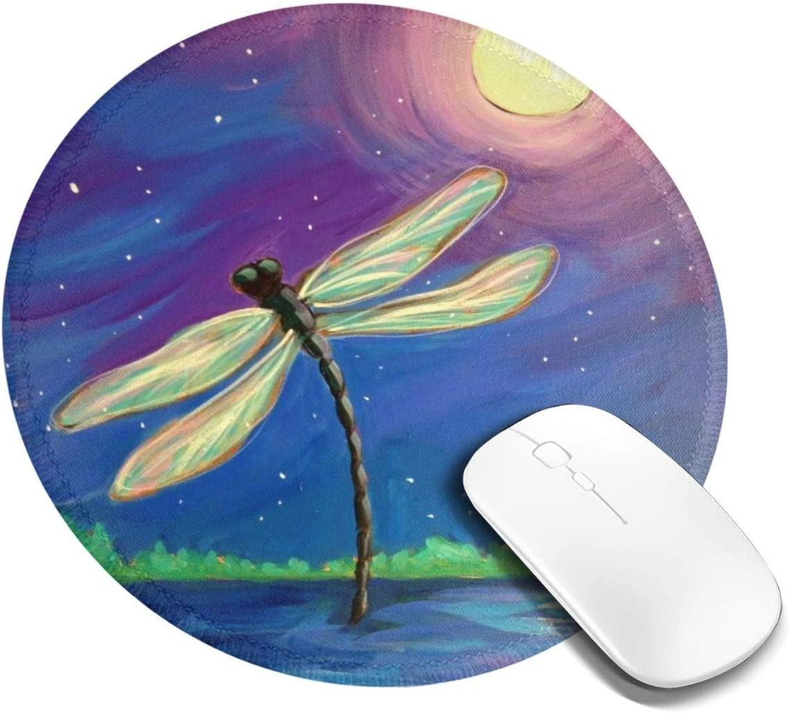 Round Mouse Pad Dragonfly Moonnon-Slip Rubber Base Gaming Mouse Mat for Computer Laptop Office Desk Accessories