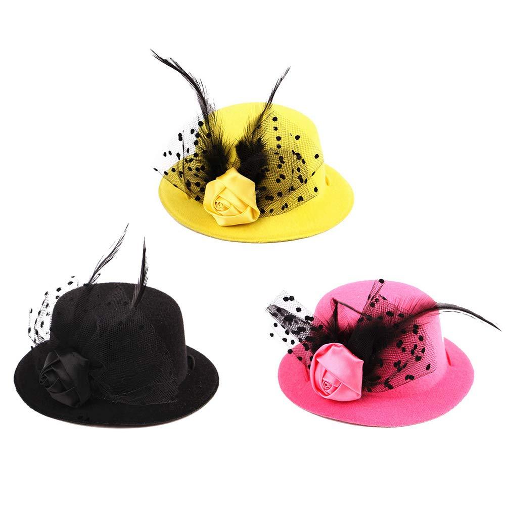 BAOBAO 3Pcs Pet Fascinators Cute Mini Top Hat Feather Flower Headwear Pillbox Hat for Dog Cat