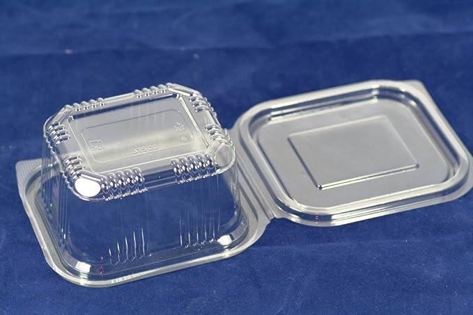 Recipientes de plástico desechables de 375 ml con tapa, ideal para comida para llevar, ensaladas o comida rápida. 70 unidades.: Amazon.es: Hogar