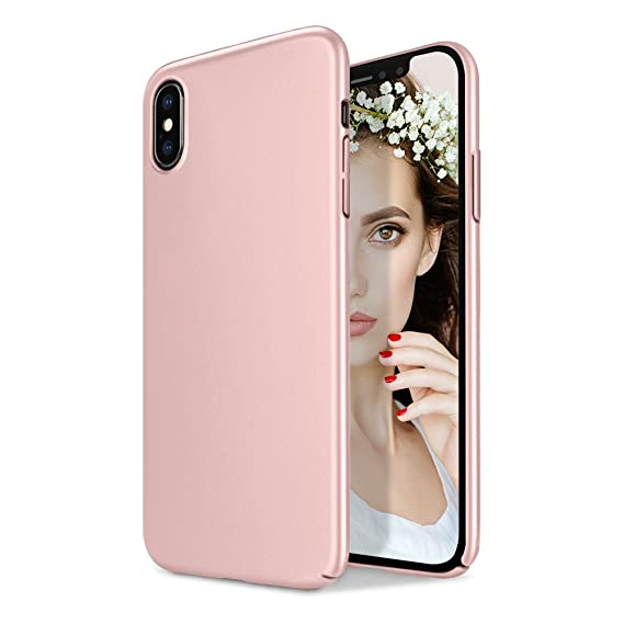 size 40 bbeda 11f17 iPhone X Hard Case, iPhone 10 Hard Case, [Pure Color] Ultra Thin Slim Fit  Shell Plastic Full Protective Anti-Scratch Resistant Pink Cover Case For ...
