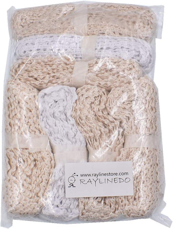 RayLineDo 14 Meter verschiedene Vintage-Stil Baumwolle Lace Ribbon Trim Braut Hochzeit /überbackene Kante H/äkelspitze DIY Sewing Accessory Collection