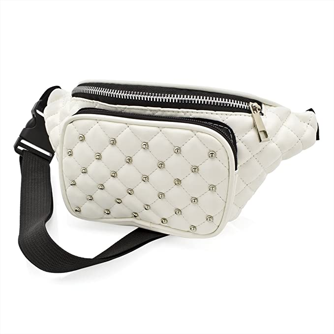 Festivals //Club Wear// Holiday Wear Black Faux Leather Padded Studded Bum Bag Fanny Pack