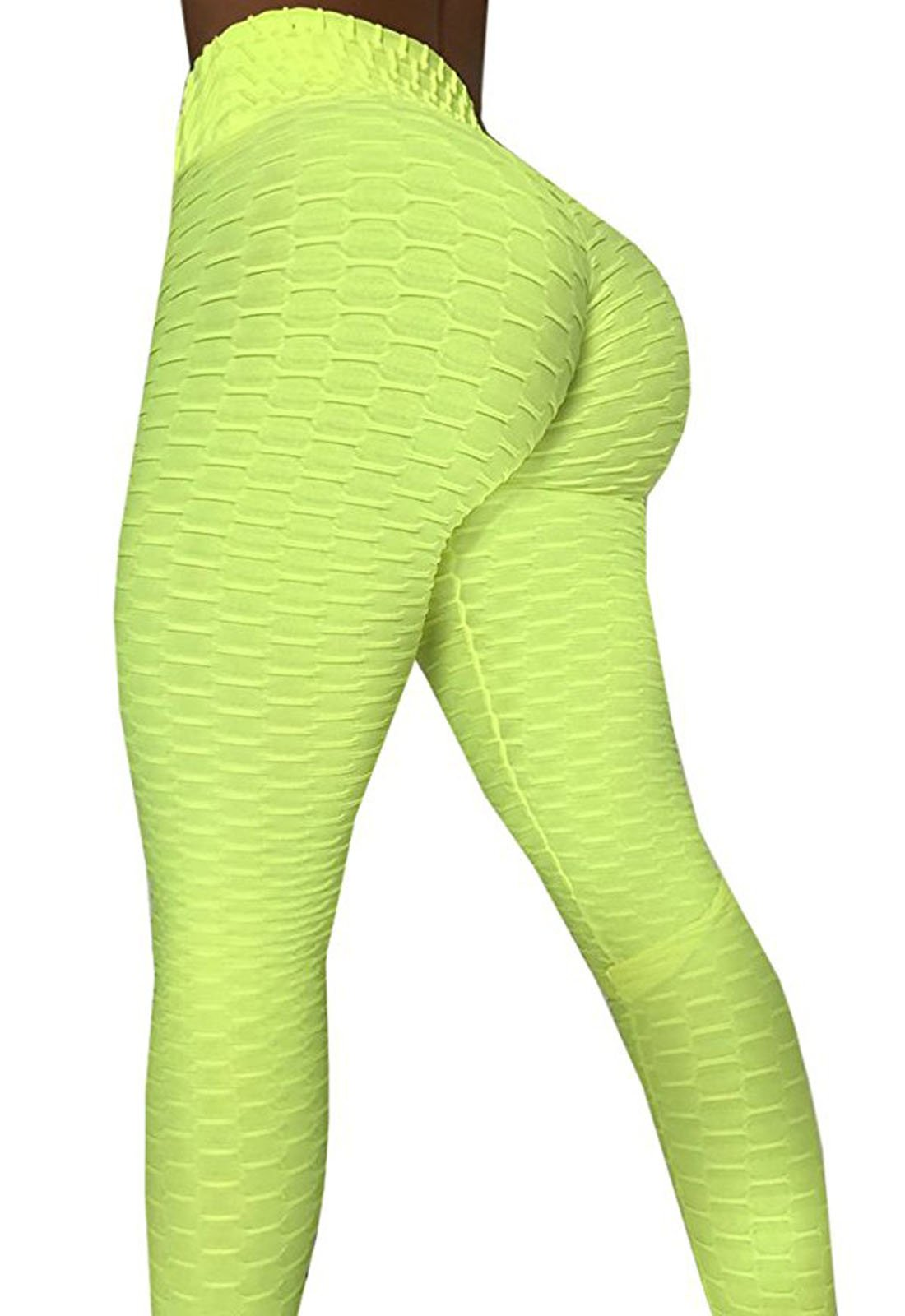 CPHMP Women's High Waist Ruched Butt Lifting Slimming Leggings Textured Stretchy Skinny Yoga Pants Thights (XL, Green)