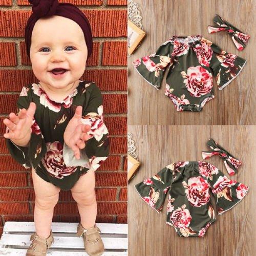 3fd68a58de86 Amazon.com  Baorong Summer Baby Girl 2 Piece Outfits Ruffled Sleeve ...