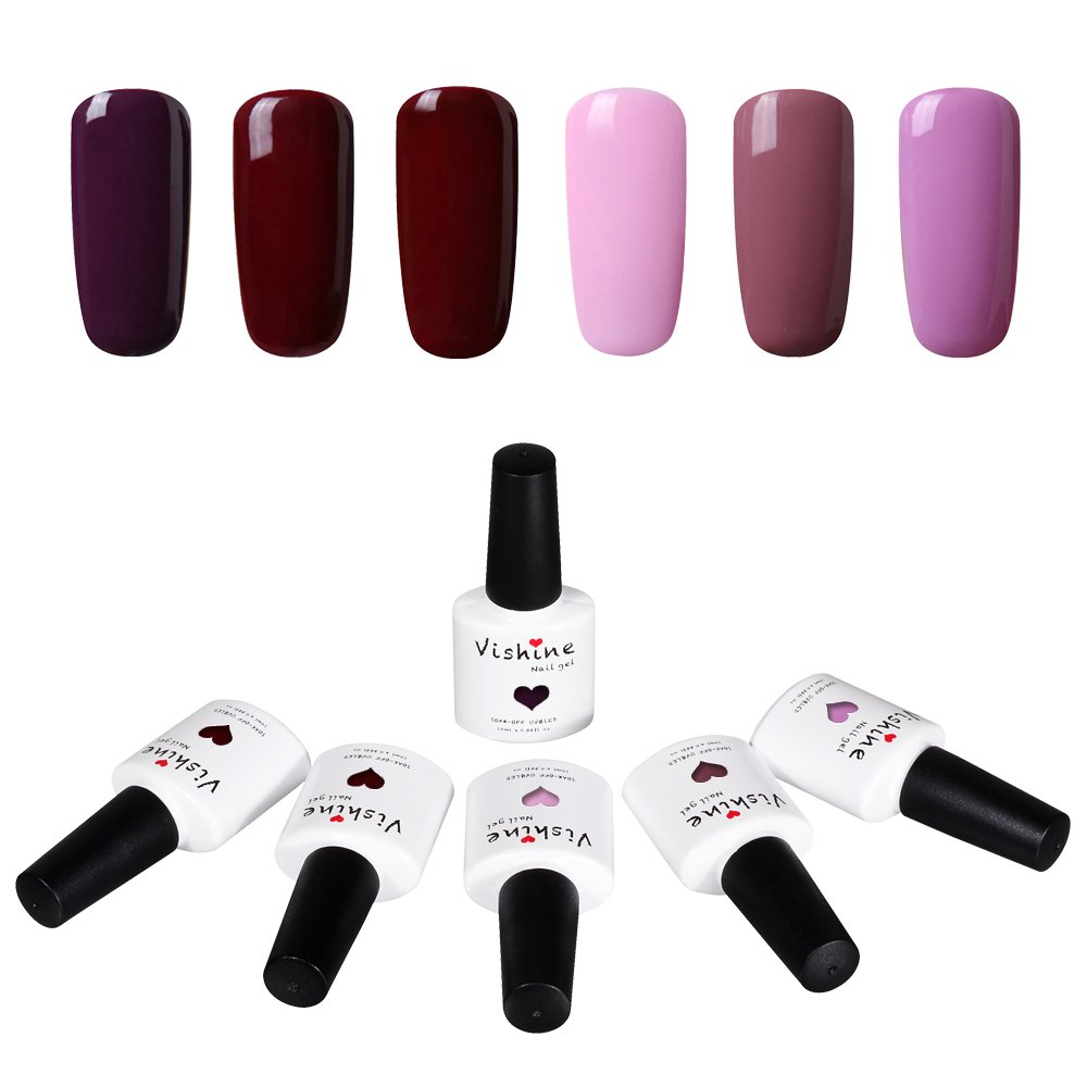 Vishine Soak Off UV Gel Nail Polish Mix Color Nail Lacquer Manicure Set 6pcs X 10ml #003