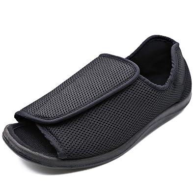 e94de5b62931a Amazon.com   Women Diabetic Slippers Edema Open Toe Adjustable Shoes ...