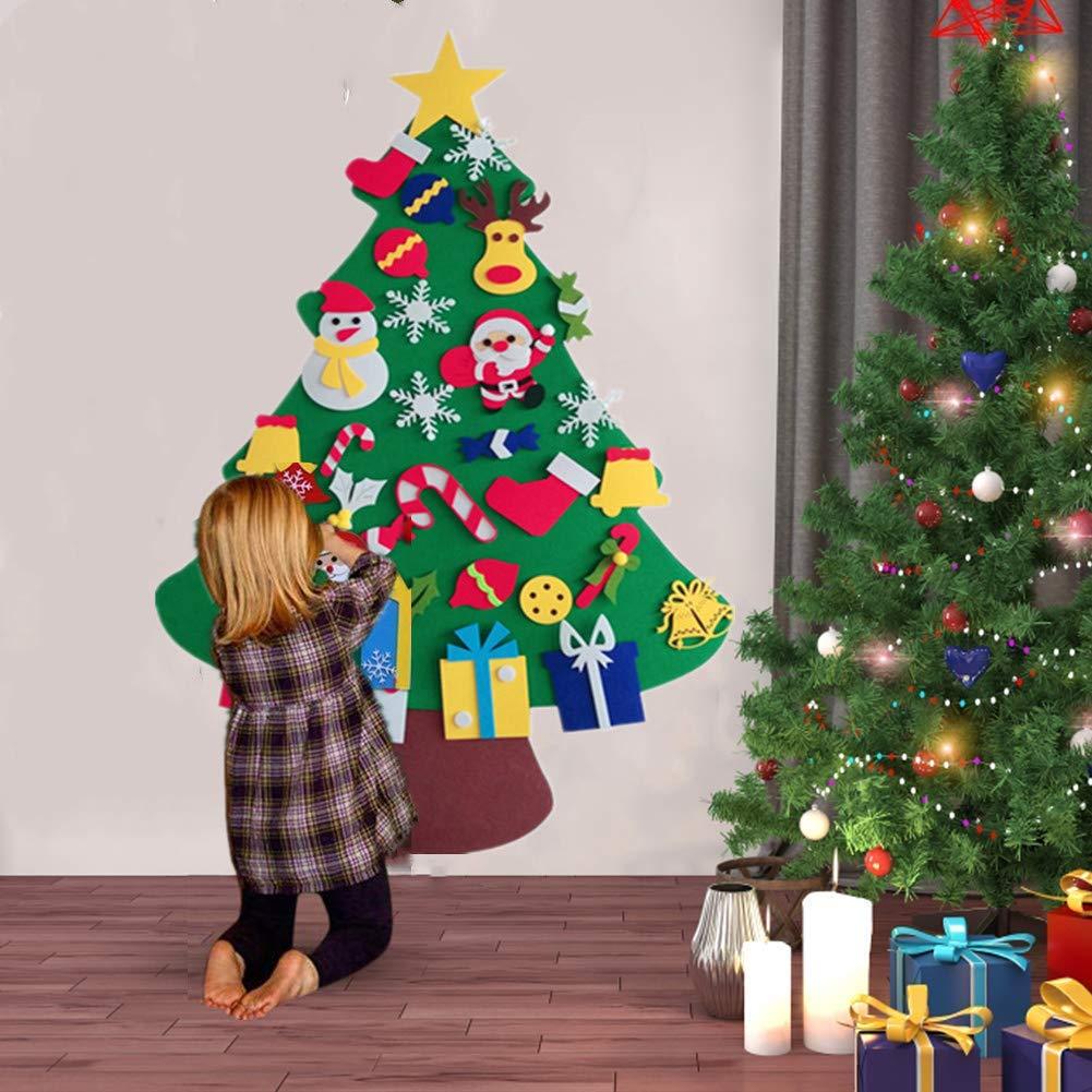 Albero Di Natale X Bambini.Bangshou Albero Di Natale Per Bambini In Feltro Felt Fai Da Te Christmas Tree Set Decorazione Della Parete Porta Decorazione Di Natale Alberi Di Natale Artificiali Casa E Cucina