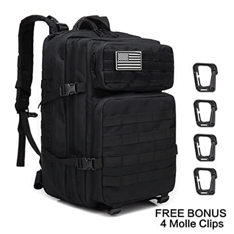 e0e9468da676 Weanas Military Tactical Backpack Waterproof Rucksack 45L Hiking Bag Large  3 Day Assault Pack Army Molle