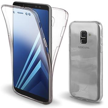Moozy Funda 360 Grados para Samsung A8 2018 Transparente Silicona - Full Body Case Carcasa Protectora Cuerpo Completo