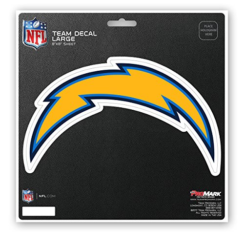 Promark NFL Los Angeles Chargers Unisex Los Angeles Chargers Decal Die Cutlos Angeles Chargers Decal Die Cut, Team Color, 8x8 by Promark