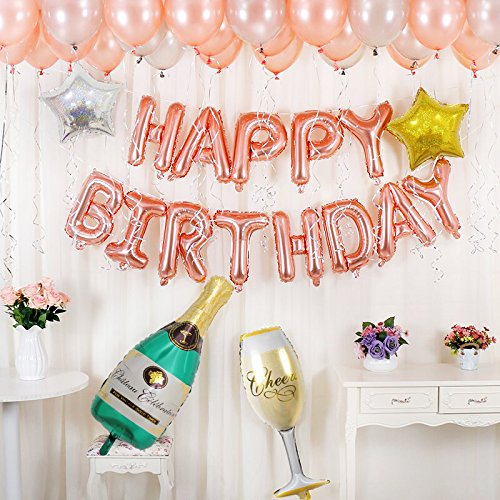 BALONAR Birthday Party Decoration Kit Happy Birthday Banner Champagne Bottle Goblet Stars Latex Balloons for Birthday Party Supplies … Rose Gold