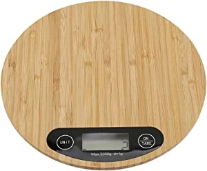 Round Digital Display Weighing Electric Kitchen Weighing Scale Cooking Food Bamboo Made