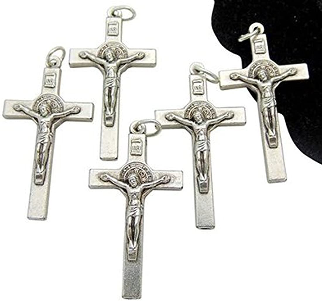 Set of Five St Benedict Crucifix Lot Silver Tone Metal Saint Gift 1 1//2 Inch W Bag From Italy