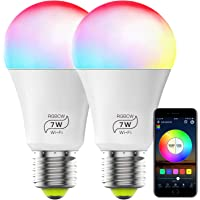 Smart Light Bulb No Hub Required, Zombber A19 E27 7w (60w Equivalent) 2700k-6500k Dimmable Multicolor WiFi LED Bulb, Compatible with Alexa Google Home Siri IFTTT (2 Pack)