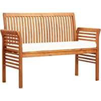 vidaXL Solid Acacia Wood 2-Seater Garden Bench with Cushion Weather Resistant Loveseat Patio Backyard Deck Bench Lounge…