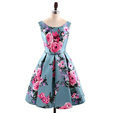 HONGFUYU Women Retro Dress Vintage Rockabilly Swing Feminino Vestidos A Line Sleeveless Flower Print Cocktail Dress