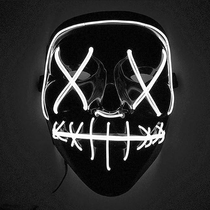 Mascara con luces led para disfraz de color blanco