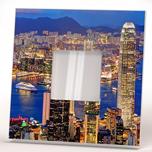 Skyscraper Hong Kong Wall Framed Mirror with Printed Urban View Decor Fan Art Home Room Design Gift