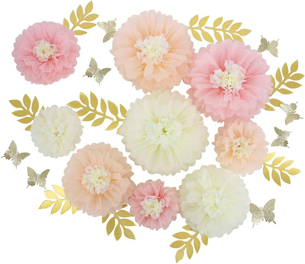 Mybbshower DIY Paper Flower Decorations for Wall Backdrop for Home Bridal Wedding Party Festival Decor Set of 27 Blush Peach