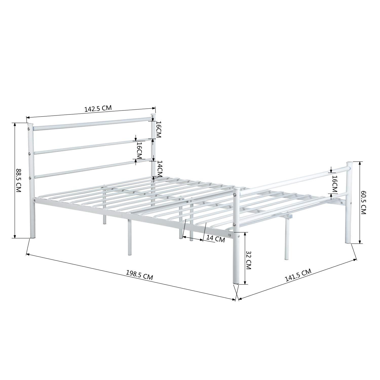 Aingoo Doppelbett Metallbettgestell mit Lattenrost Gästebett ...