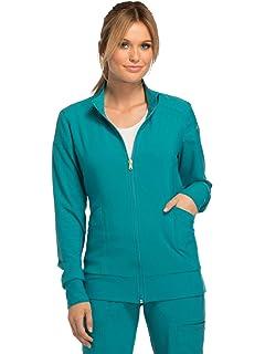 42e51e2842c Amazon.com: HeartSoul HS315 Women's Zip Front Warm-Up Solid Scrub ...