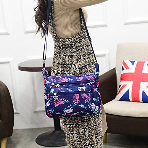 Travel Painting ENKNIGHT Purse Nylon Shoulder Blue Bag Crossbody for Women handbags vSPqUvO