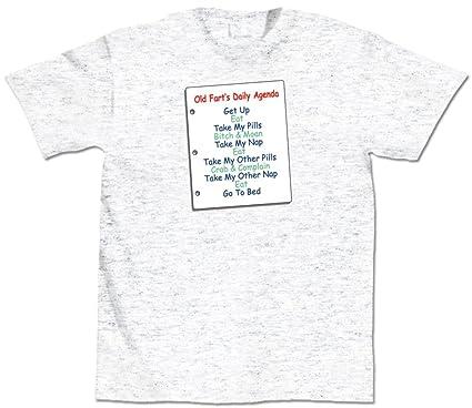 Amazon.com: Old Farts Daily Agenda Grey Cotton T-Shirt ...