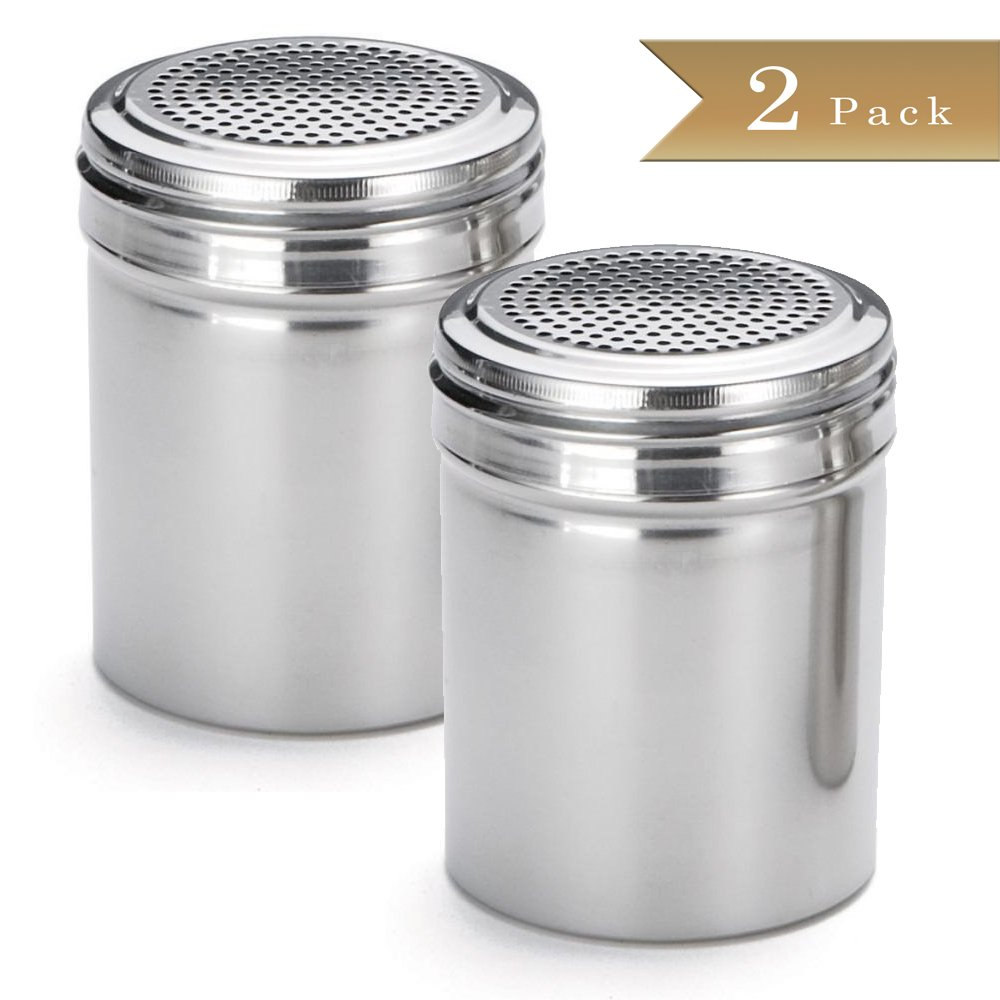 TrueCraftware Set of 2 - Stainless Steel Dredge Shakers - 10 Ounce - Spice Shaker - 10 oz Spice Dispenser for Cooking - Powder Sugar Shaker