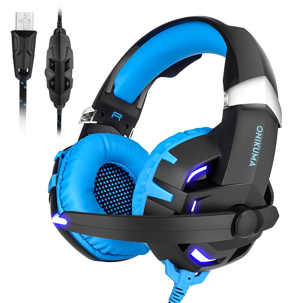 Computer Gaming Headset 7.1 Surround Stereo Sound USB Computer Gaming Headset with Microphone, Volume Control and LED Light for PC MAC Computer Laptop (Blue) SUPERSUN K2-gaming headset-blue