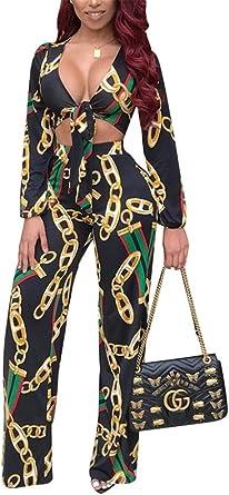 Remelon Womens Chain Print Long Sleeve Deep V Neck 2 Piece Outfits Crop Top Long Pants Jumpsuit