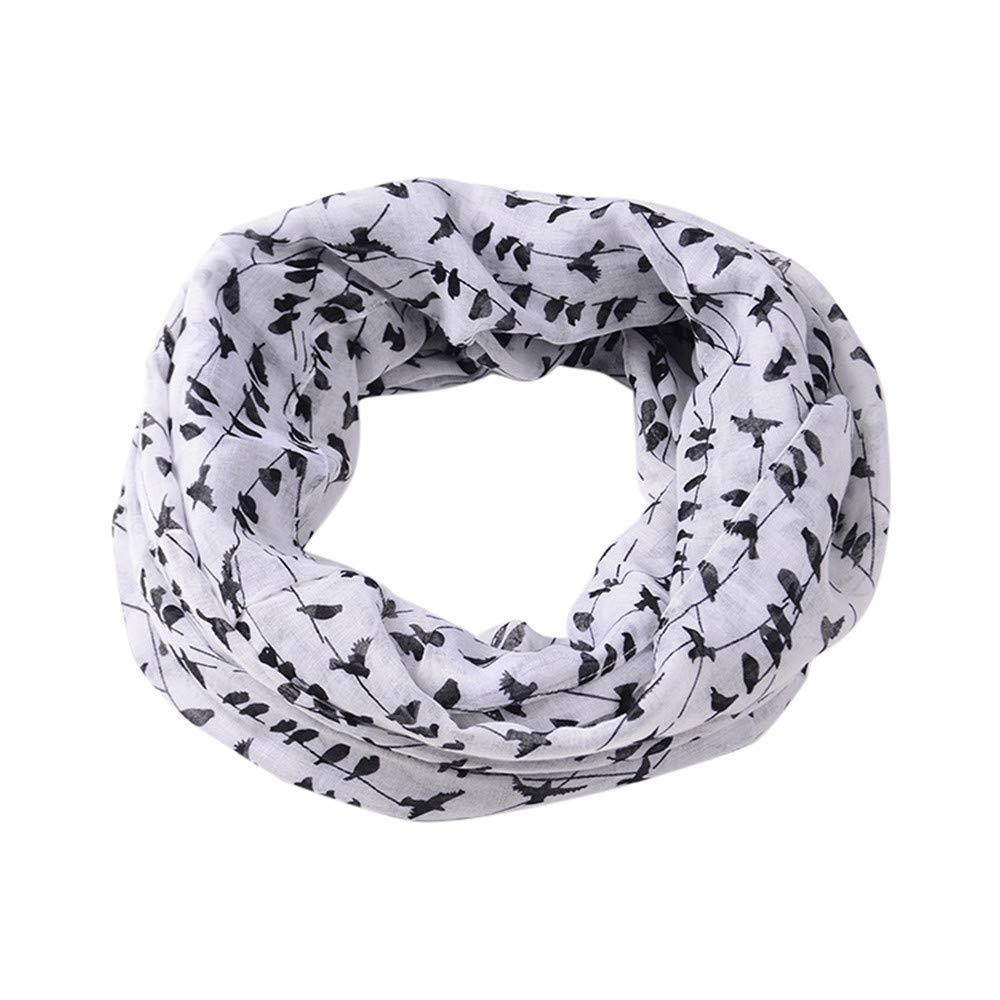 Jonecal Unisex Neckerchief Winter Infinity Warm Loop Scarf WIth Embroidered Cotton Linen Wrap Shawls (White)