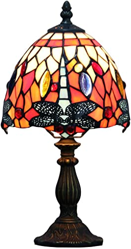 Makenier Vintage Tiffany Style Stained Glass Bedroom Bedside Corner Table Desk Red Dragonfly Small Lamp