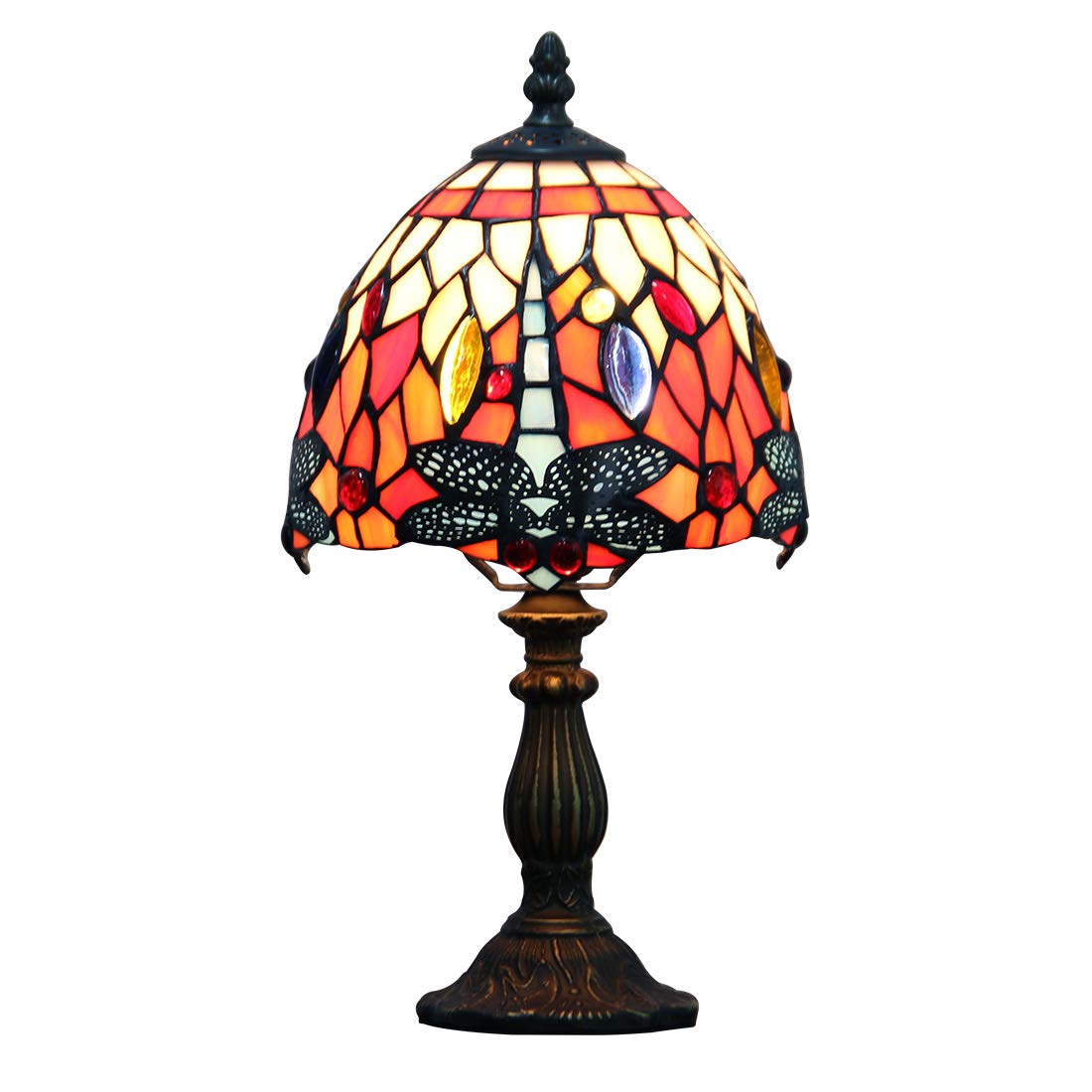 Makenier Vintage Tiffany Style Stained Glass Bedroom Bedside Corner Table Desk Red Dragonfly Small Lamp, 7 Inches Lampshade